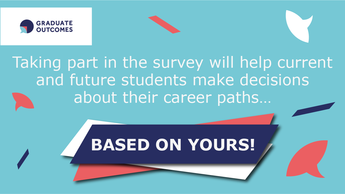 The #GraduateOutcomes survey is the UK's biggest annual social survey. Did you graduate last summer? 🎓 You've been sent the @grad_outcomes survey via email and SMS – it aims to understand your perspectives & your current status. Check your inbox! 👉https://t.co/U0Dwfns3pP https://t.co/Rzefji6pfn
