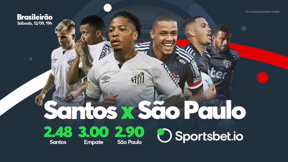 Hoje tem clássico no Brasileirão! Santos e São Paulo se enfrentam pelo Brasileirão em busca da vitória! E aí, qual é o seu palpite? Vai lá no site e faça sua aposta: sportsbet.io/pt/sports/even…