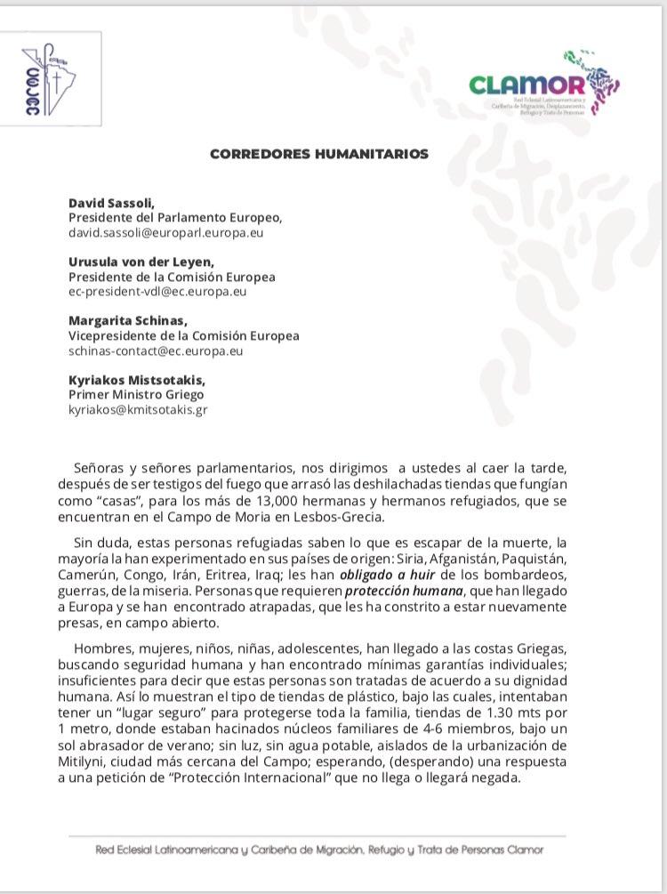 Desde America Latina, Red Clamor Desde la Red Clamor- América Latina  Corredores humanitarios, dignidad humana. https://t.co/choYksVhhq
