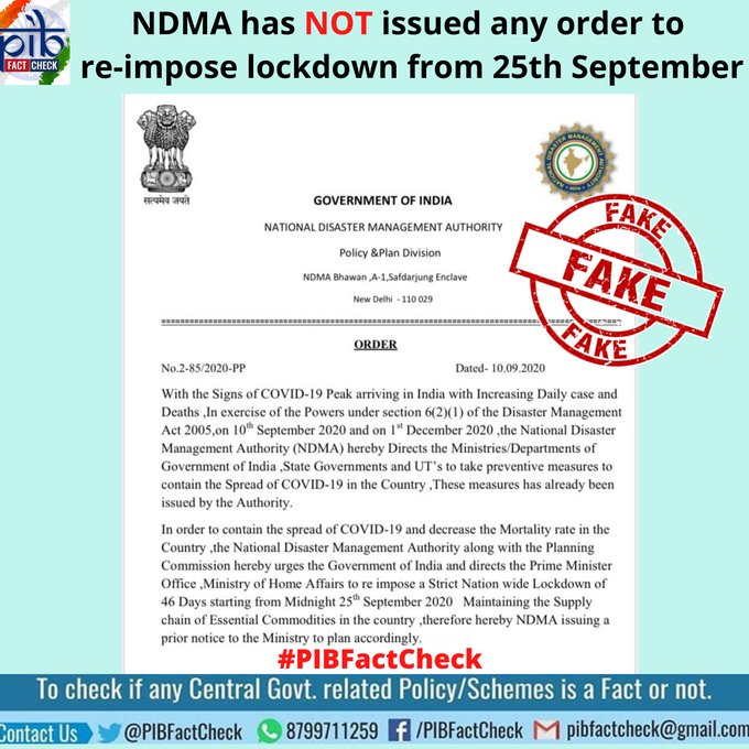 A stamp with the word Fake on an order purportedly issued by National Disaster Management Authority. The order claims that NDMA has directed the government to re-impose a nationwide Lockdown from 25th September