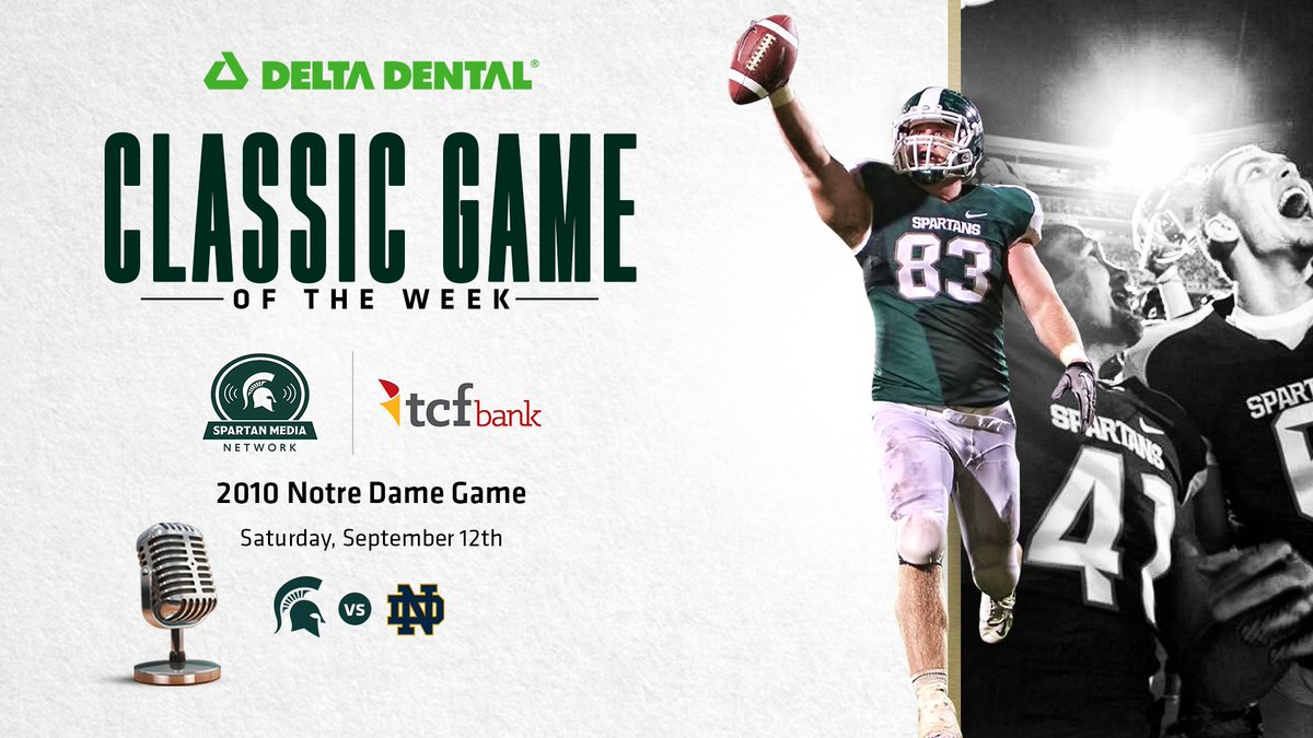 "Every Saturday this fall, listen to the @DeltaDentalMI ""Classic Game of the Week"" on the @TCFBank Spartan Media Network. The series continues today from 3-6 p.m. on our flagship stations (WJR 760, WJIM 1240) with the 2010 Notre Dame game - otherwise known as ""Little Giants""! https://t.co/ZPd5dIhAO3"