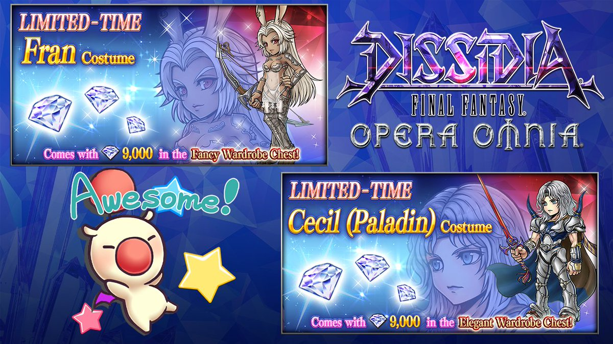 Two limited-time costume bundles are currently available in #DissidiaFFOO!  Fran's extra costume resembles the wood-dwelling Viera in #FFXII , and Cecil's costume shows his transformation to a Paladin of Light!   Both bundles disappear on Sep. 21 so don't miss out! https://t.co/kxVlB8yoFX