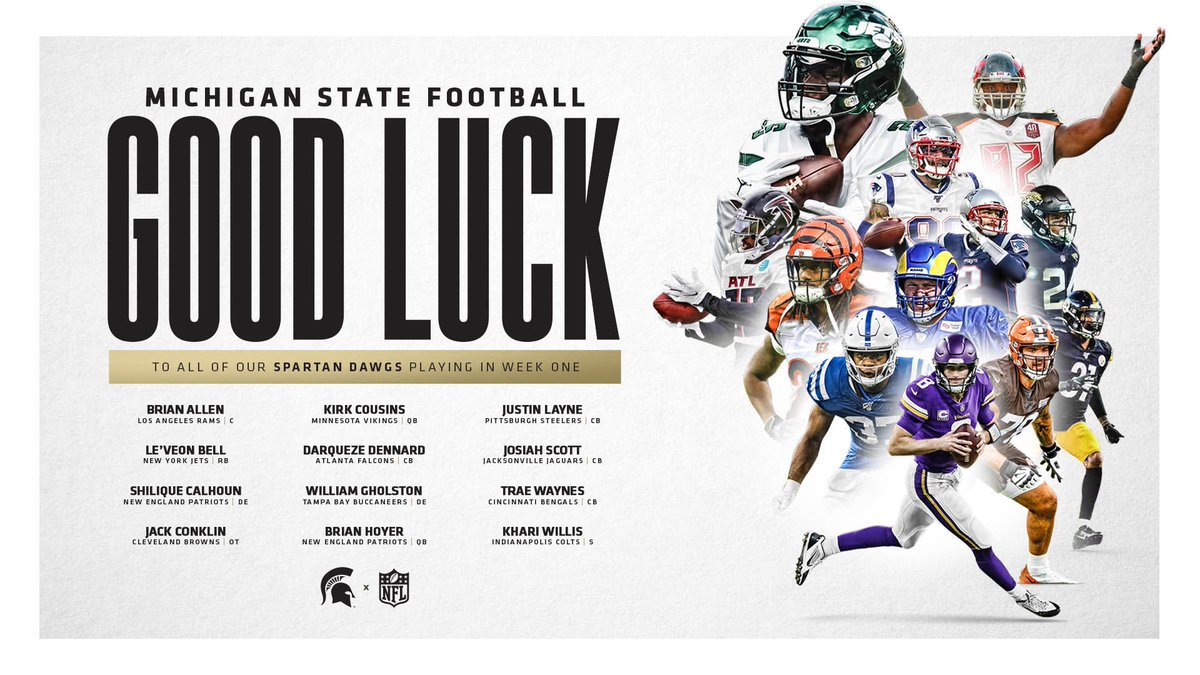 Tap the heart to wish these Spartan Dawgs good luck in tomorrows NFL games 🐶📺   #GoGreen | #RELENTLESS https://t.co/CT2CZ61Eb0
