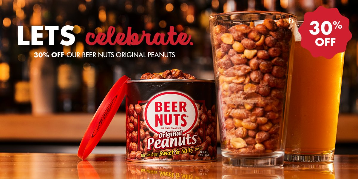 Raise a glass and celebrate - it's National Peanut Day! 🥜🍺  We're taking 30% off our ENTIRE collection of BEER NUTS Original Peanuts from now until 9/14 so you can keep the party going (and going).  https://t.co/Mai4g2tyIe https://t.co/IxIXcNR6P5