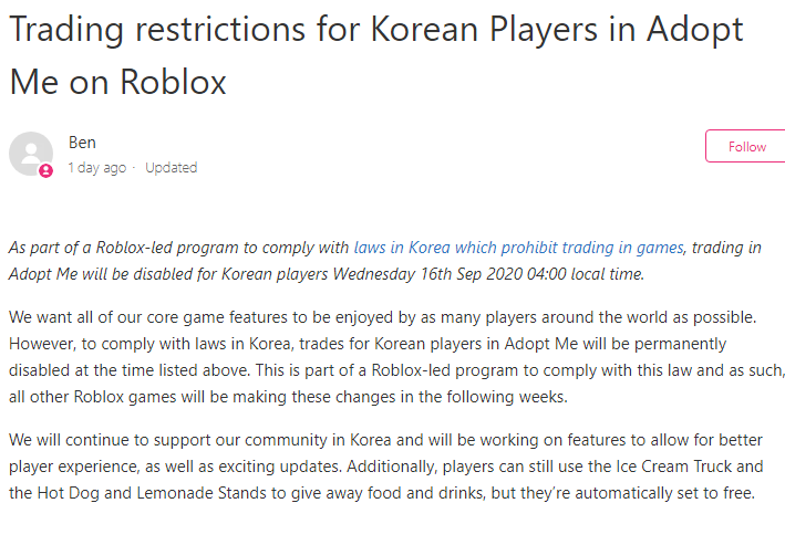 Roblox Adopt Me Ban Rtc On Twitter News Adopt Me Trading Is Going To Be Banned In South Korea Making It S Player Base Loose Out On A Lot No This Is Not A Joke Many Players
