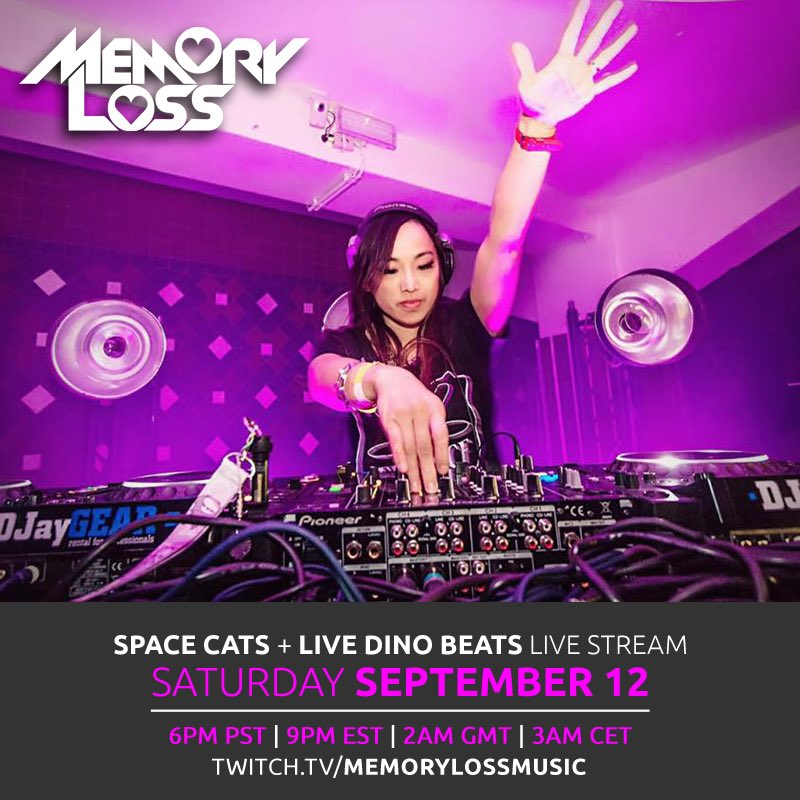 Space catssss + live dino beats is launching in T-minus 3.5 hours TODAY!!! See you real soon 😽🚀👩🚀🦕🎶 https://t.co/Ythnk5m1BF  #trance #trancefamily #twitch #spacecat #livedinobeats https://t.co/w0O4OInjJS