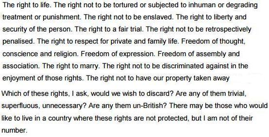 Lord Bingham on the rights protected by the Human Rights Act: 'Which of these would we wish to discard? Are any of them trivial or unnecessary?'. What groups of people do we think shouldn't be given these basic rights? How can someone's immigration status exclude them from this?