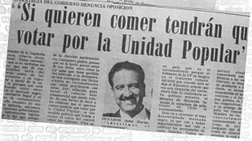 """""""En el capitalismo el que no trabaja no comerá, en el socialismo el que no obedece no comerá"""", dijo el líder del ejército rojo Trotsky. Así estaba Chile 🇨🇱 con Allende. https://t.co/MzHfJCussK"""