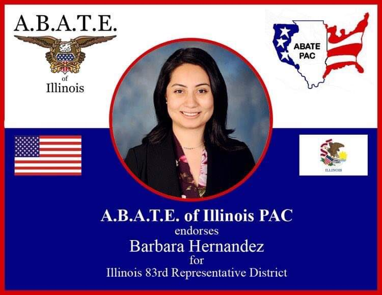 Congratulations to @barbara_isabel for receiving the endorsement from A.B.A.T.E. of Illinois for the 2020 General Election! #ABATEofIllinois #DuKaneABATE #Vote2020 🇺🇸 https://t.co/Zam24ZNMI8