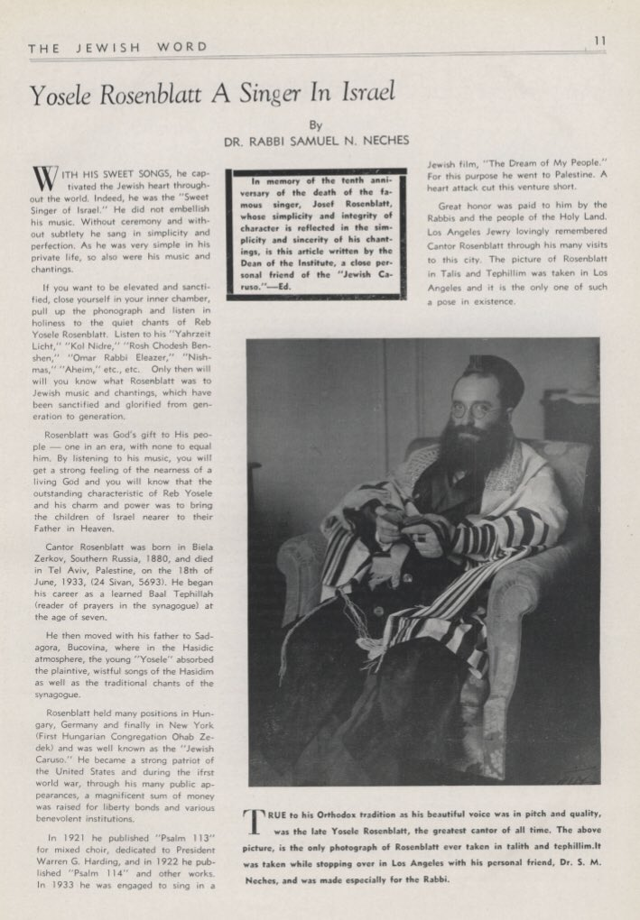 """Menachem Butler on Twitter: """"and from that above article by Rabbi Neches, here is the photo of Chazzan Yossele Rosenblatt, wrapped in his prayer shawl and phylacteries, supposedly the only time that"""