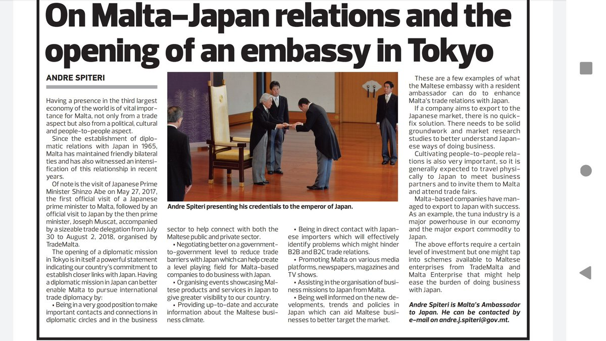 My article published on today's edition of the @TheTimesofMalta in which I wrote about how a Diplomatic Mission in Tokyo can help us enhance trade relations with the world's third largest economy. Special thanks to #trademalta for the feature. https://t.co/1U15Lv8whi