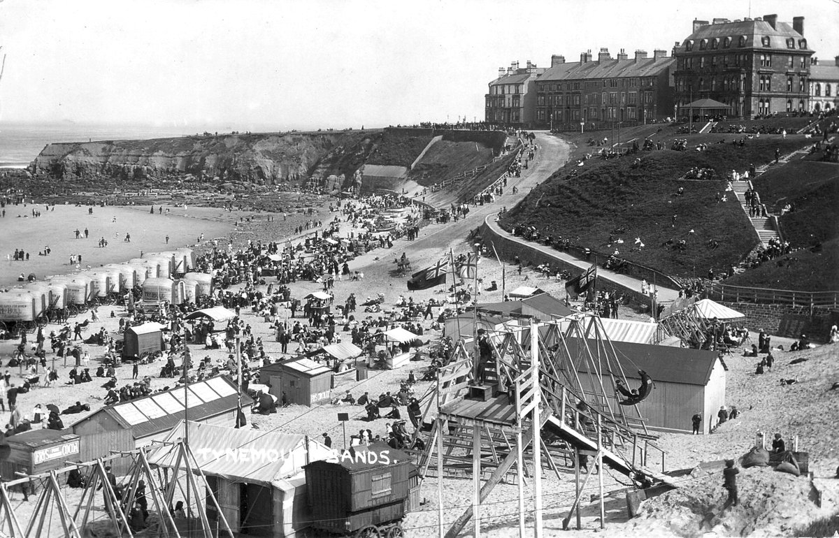 Bathing machines and shuggy boats at Tynemouth around 1910.