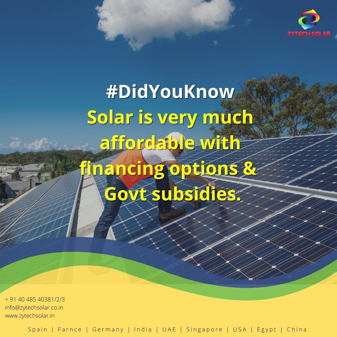 #zytechsolar #didyouknow #didyouknowfacts #solarnews #solarpower #industrial #Hyderabad #powerproject #pharmaceutical #construction #Telangana #southindia #architect #realestate https://t.co/k6FPYCLVsu