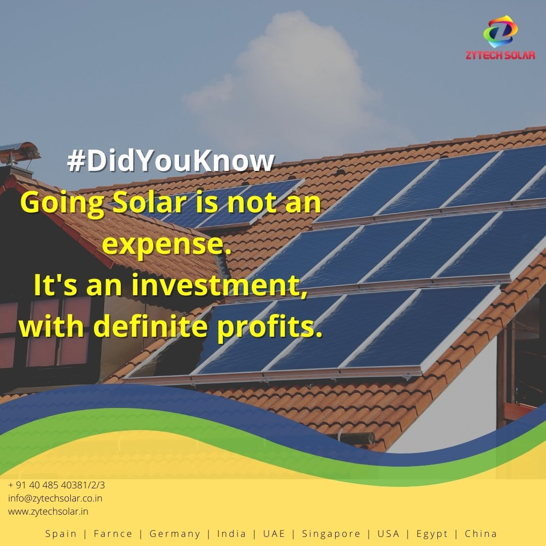#zytechsolar #didyouknow #didyouknowfacts #solarnews #solarpower #industrial #Hyderabad #powerproject #pharmaceutical #construction #Telangana #southindia #architect #realestate https://t.co/NYKp8mZoGs