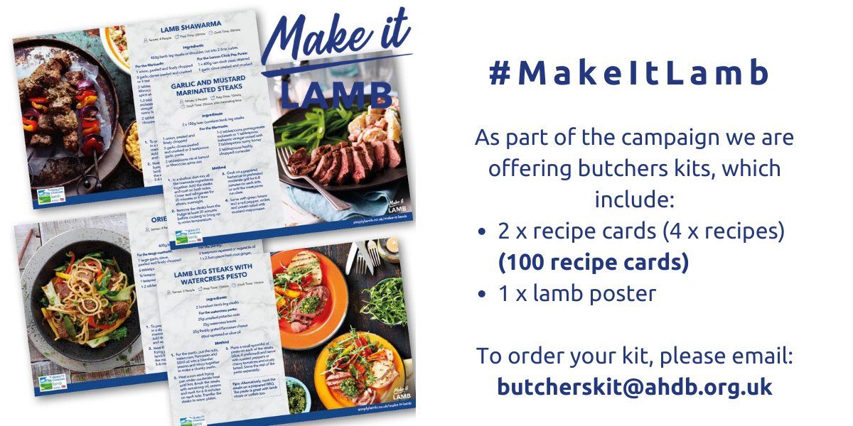 We have also produced #MakeItLamb recipe kits to help the industry celebrate lamb they contain 100 recipe cards (4 x recipes) and a recipe poster, perfect for butchers and farm shops. Order yours now, free of charge👉butcherskit@ahdb.org.uk. https://t.co/CBYp9VFWMj https://t.co/we0Fhck3MT