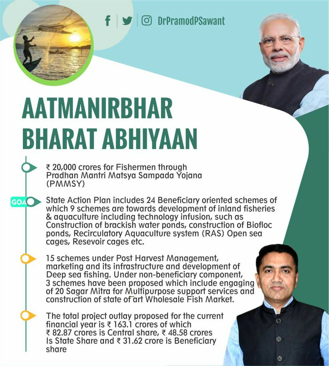 State action plan to provide boost for fish farming in Goa under #AatmaNirbharBharatAbhiyan. https://t.co/Tqxw7J1r5V
