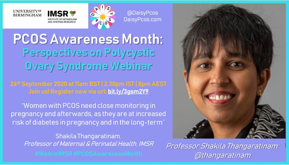 We are pleased to have @thangaratinam in our #PCOSAwarenessMonth webinar on 26 Sep 1100 to 1300 BST. She is a global leader in maternal health and a strong advocate for better services in #PCOS. Here's her quote.   To Register for the webinar, click: https://t.co/a9xdfiZXs6 https://t.co/nAunuuvnN5