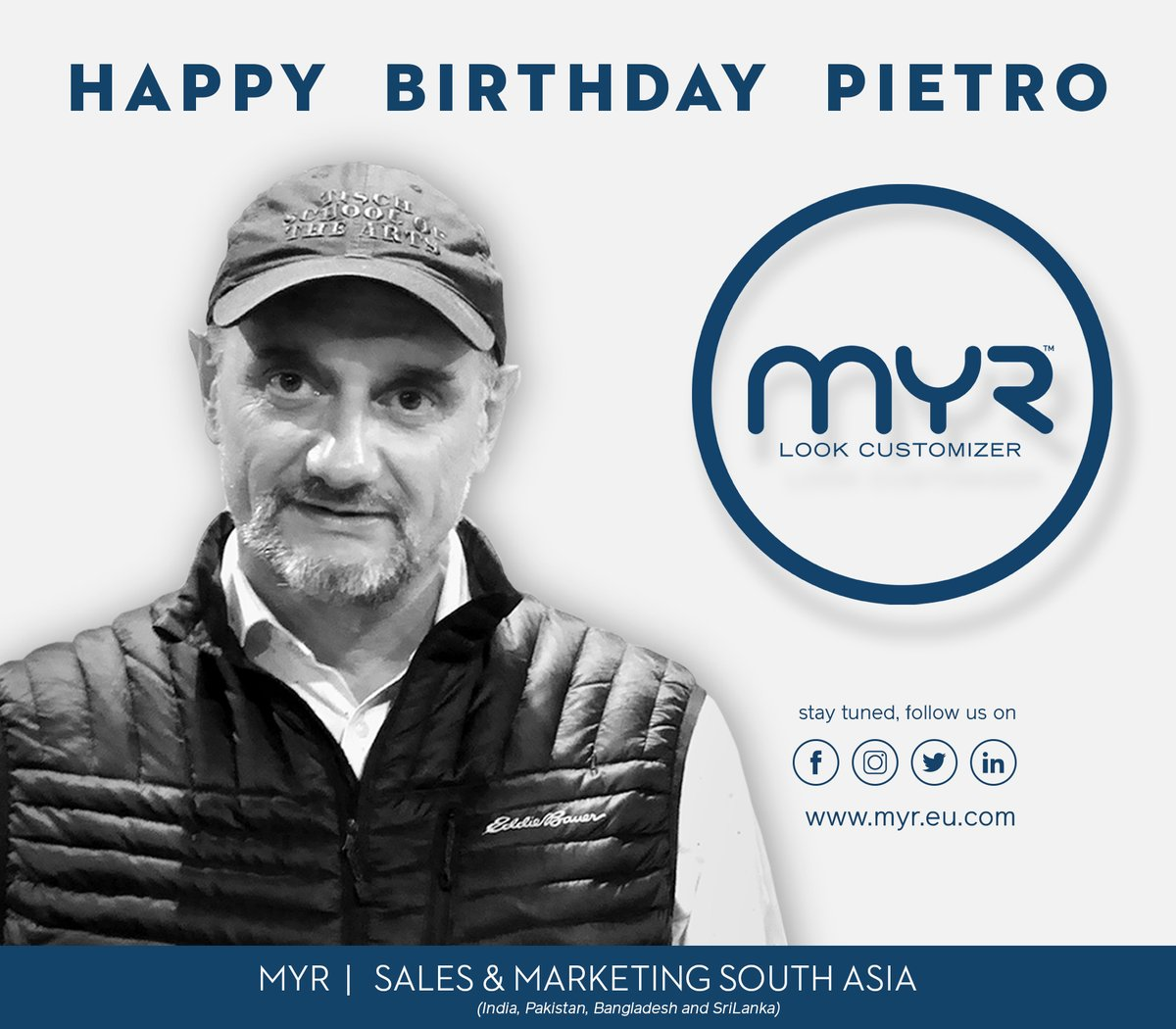 HAPPY BIRTHDAY PIETRO FROM MYR GROUP | https://t.co/N7AoP9ybdV info@myr.eu.com #software #denim #jeans #innovation #dream #play #love #life #design #job #technology #culture  #future #creativity #excellence #moda #coleção #inovação #arte #denim #jeans #têxteis #tons #cor #preta https://t.co/YQzumGVU2r