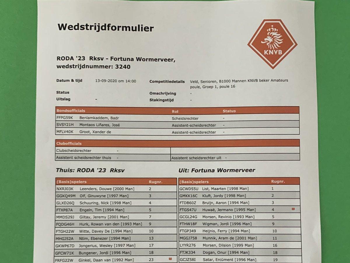 De basis 11 voor de laatste bekerwedstrijd.   Om 14:00 uur de aftrap, RODA '23 vs @FortunaW. • #rodfor #KNVBbeker https://t.co/cFyAOonj0j
