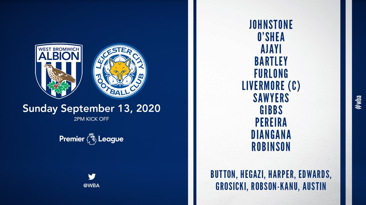 📋 Our first XI of the season. Heres the side Slaven Bilić has picked for the clash with @LCFC. #WBALEI | #WBA