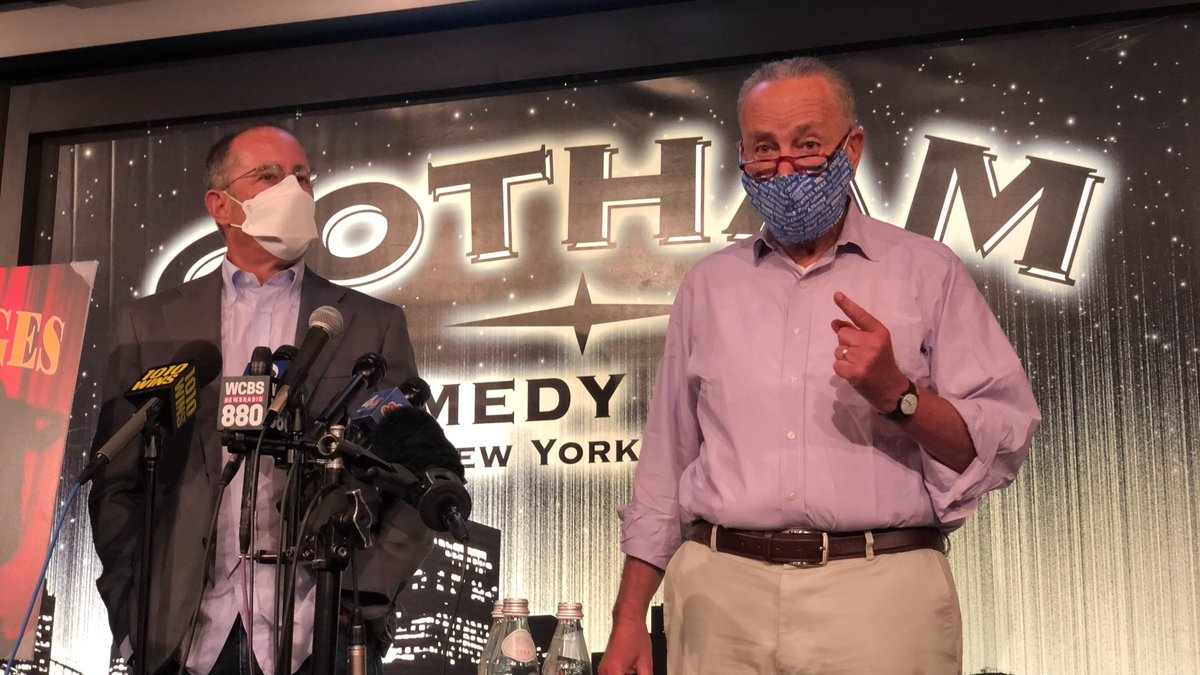 Hello, Jerry.  I'm proud to stand side-by-side with @JerrySeinfeld at the @GothamComedy Club in New York City to fight for the #SaveOurStages Act.  Because comedy clubs, indie music venues, Broadway, and more need our help now.