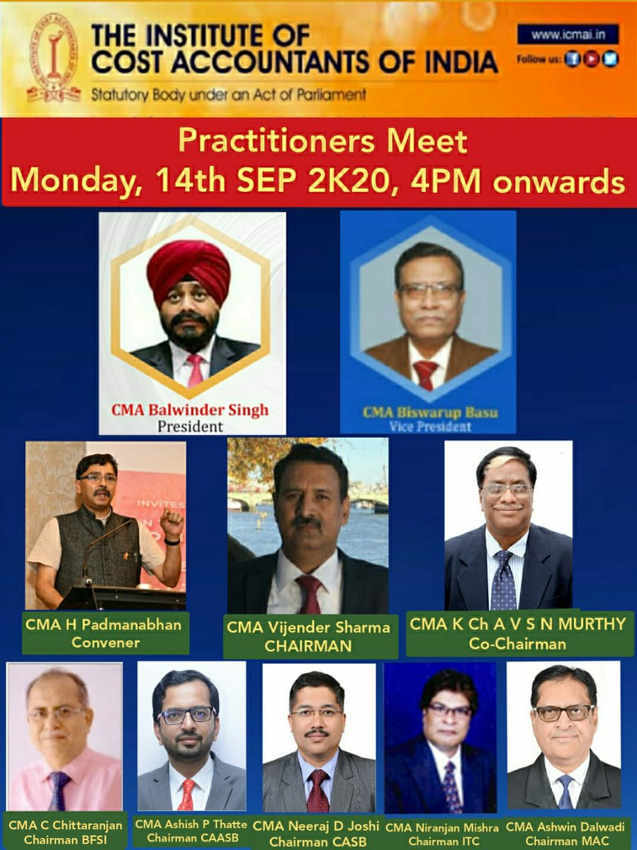 Join the 'Practitioners Meet 2K20' organised by the Institute on Monday, 14th September 2020 at 4pm onwards.  CEP Credit: As per rules.  Weblink to Join: https://t.co/P1TF5PqbXq  @CMAPappan @presidenticmai https://t.co/CgkN2qCIhw