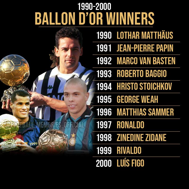 Ballon d'Or Winners, 1990 -> 2000  #footballmemories #matthaus #vanbasten #RobertoBaggio #Baggio #HristoStoichkov#Stoichkov #GeorgeWeah #Weah #MatthiasSammer #Ronaldo #ZinedineZidane #Zidane #Rivaldo #LuísFigo #operazionenostalgia #seriea #serieatim #calcio #serieaxespn https://t.co/CaPkyyPcvB