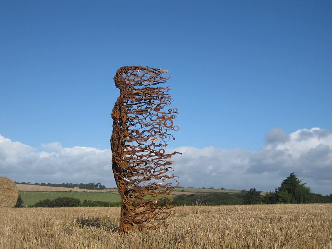 """""""Blown Away"""" is a series of sculptures by British artist Penny Hardy, created out of discarded machine parts #womensart"""