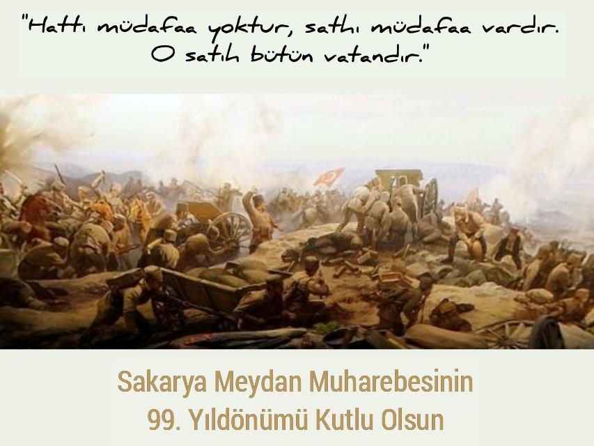 İstiklal mücadelemizin önemli dönüm noktalarından biri olan Sakarya Zaferi' mizin 99. yıl dönümünde başta Gazi Mustafa Kemal Atatürk olmak üzere, Kurtuluş mücadelemizin tüm kahramanlarını rahmet ve minnetle anıyorum.  #SakaryaZaferi https://t.co/s2pROr5EGF