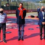With @fcagroup Chairman John Elkann and @PresidenteACI Angelo Sticchi Damiani before the start of the 1000th @FIA @F1 Grand Prix of @ScuderiaFerrari at @MugelloCircuit   #SF1000GP #F1 #TuscanGP 🇮🇹