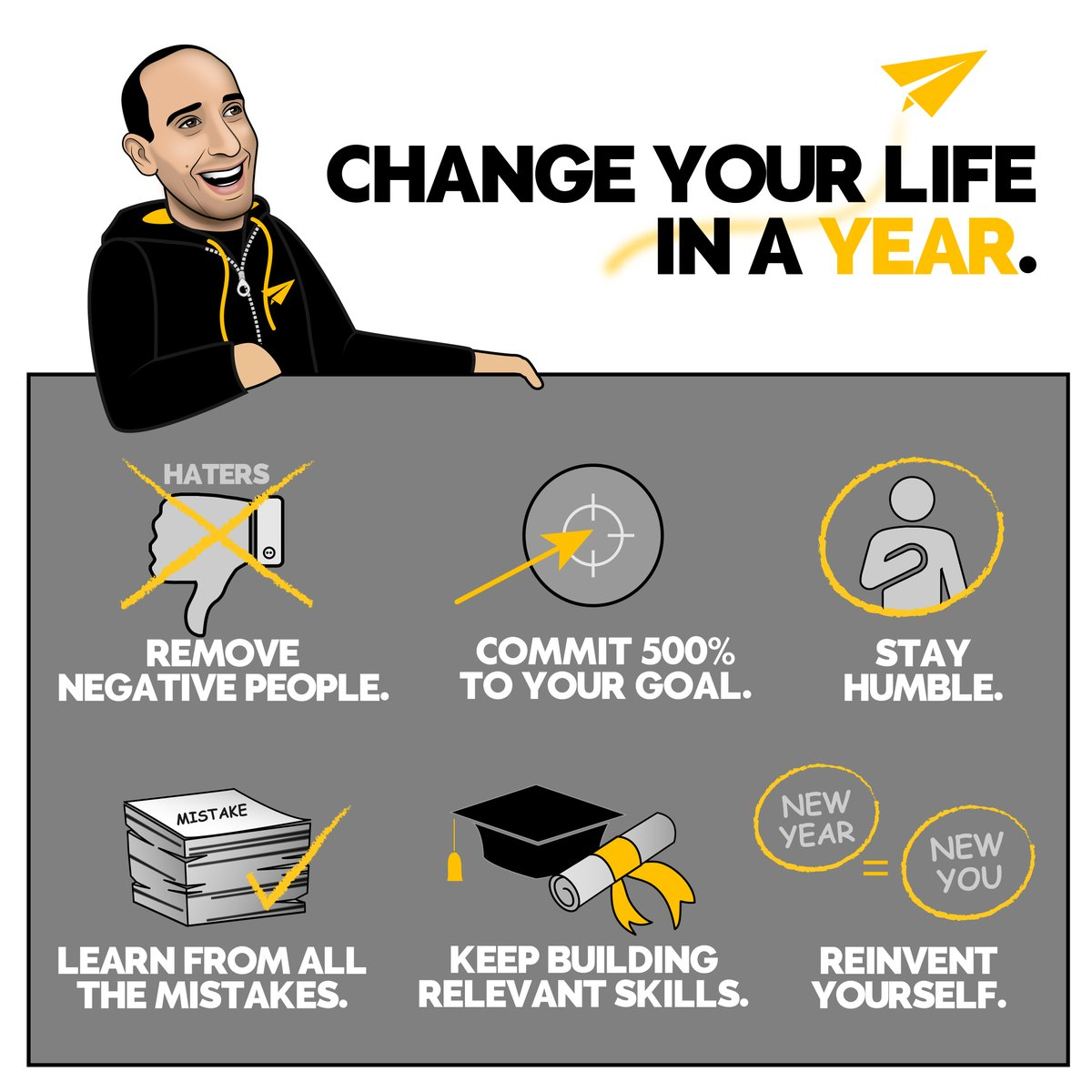 Drop a 'YES' below if you need to embrace one of these points! 👇  Want to change your life in a year? Here's how you can do it. _____________________________________  #bestadvice #daretobedifferent #changeyourlife https://t.co/AmSRomA4Zk