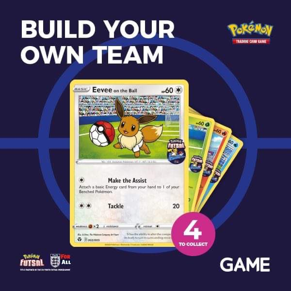 Time for a  @GAMEdigital   GLOBALL EXCLUSIVE.  Build your ultimate Pokémon dream team with the first of four #FUTSAL Trading Cards.  Get your paws on Eevee today when you spend £15 or more on Pokémon Trading Card products.   Ask staff for details. https://t.co/yuY5pbADBi