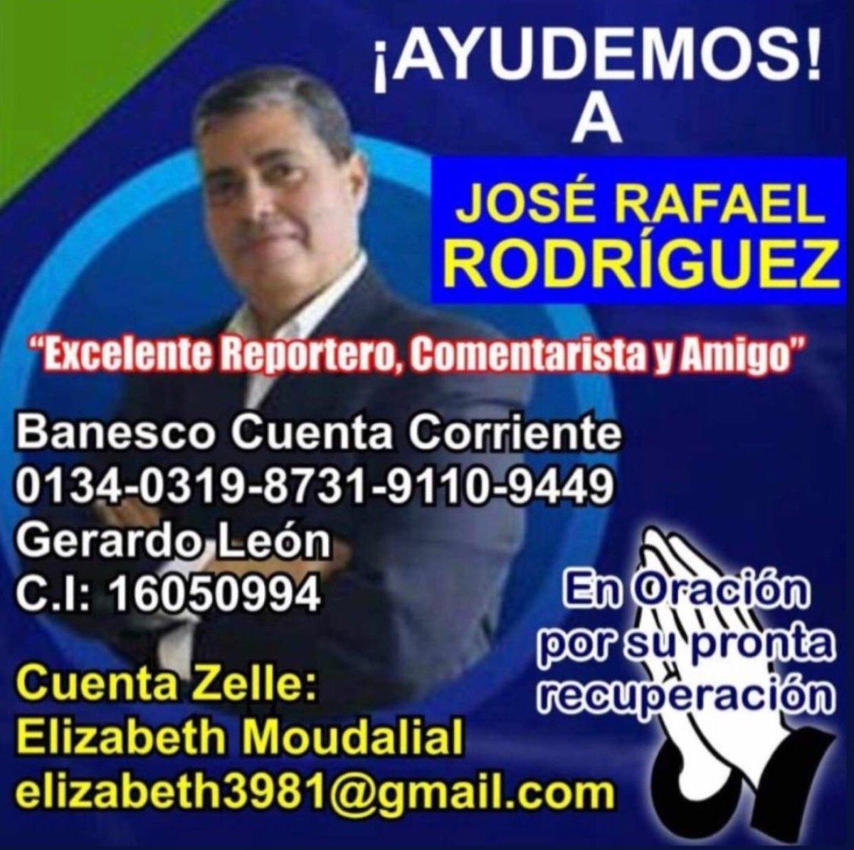 Mi buen amigo y colega José Rafael Rodríguez necesita de nosotros en estos momentos de dificultad ¡Cualquier colaboración es bien recibida! 🙏❤️ https://t.co/4mocwEFJM6