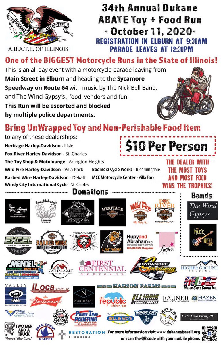 The 34th Annual @DuKaneABATE Toy and Food Run is October 11, 2020! It leaves Elburn and heads to the awesome @Syc_Speedway! Don't miss out on helping us collect toys and food for children in need this coming holiday season! #DuKaneABATE #ItsForTheKids 🏍🎄🎅🏻 https://t.co/T1ZDU2PVtk