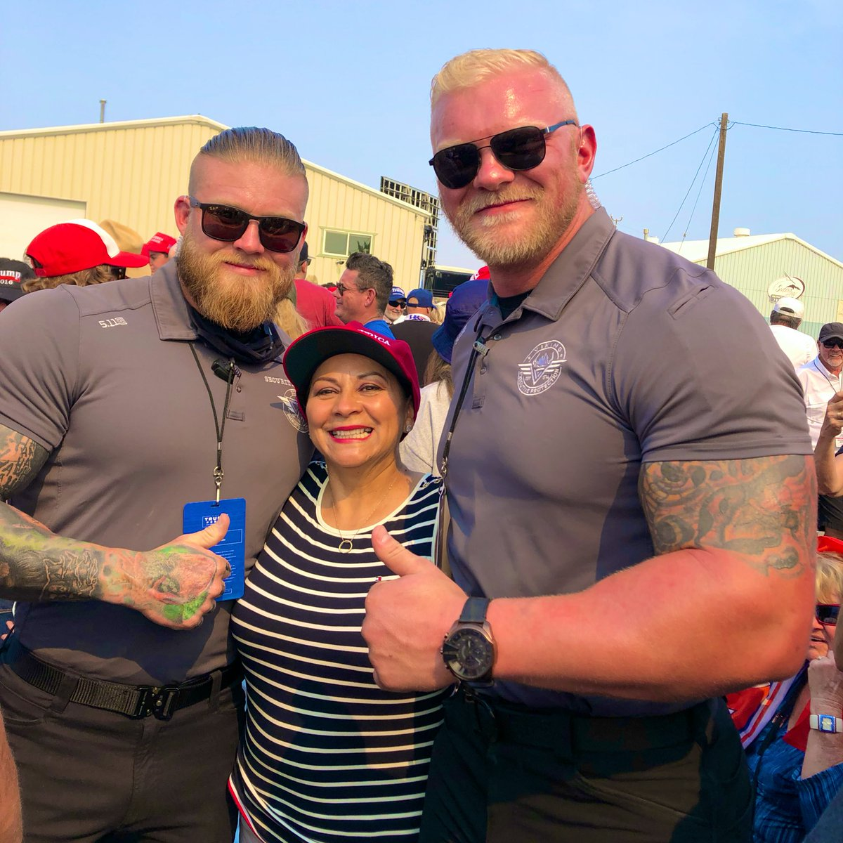 Good morning all.   We were at Trump rally all day yesterday in Nevada!  Super long day yesterday, but so much fun hanging out with many MAGA friends, volunteers, and security detail like these cool guys! 💪  #LawAndOrder #FourMoreYears  Trump2020 🚂🇺🇸💨 👉  @sandraschulze https://t.co/Cnk8GloQVe