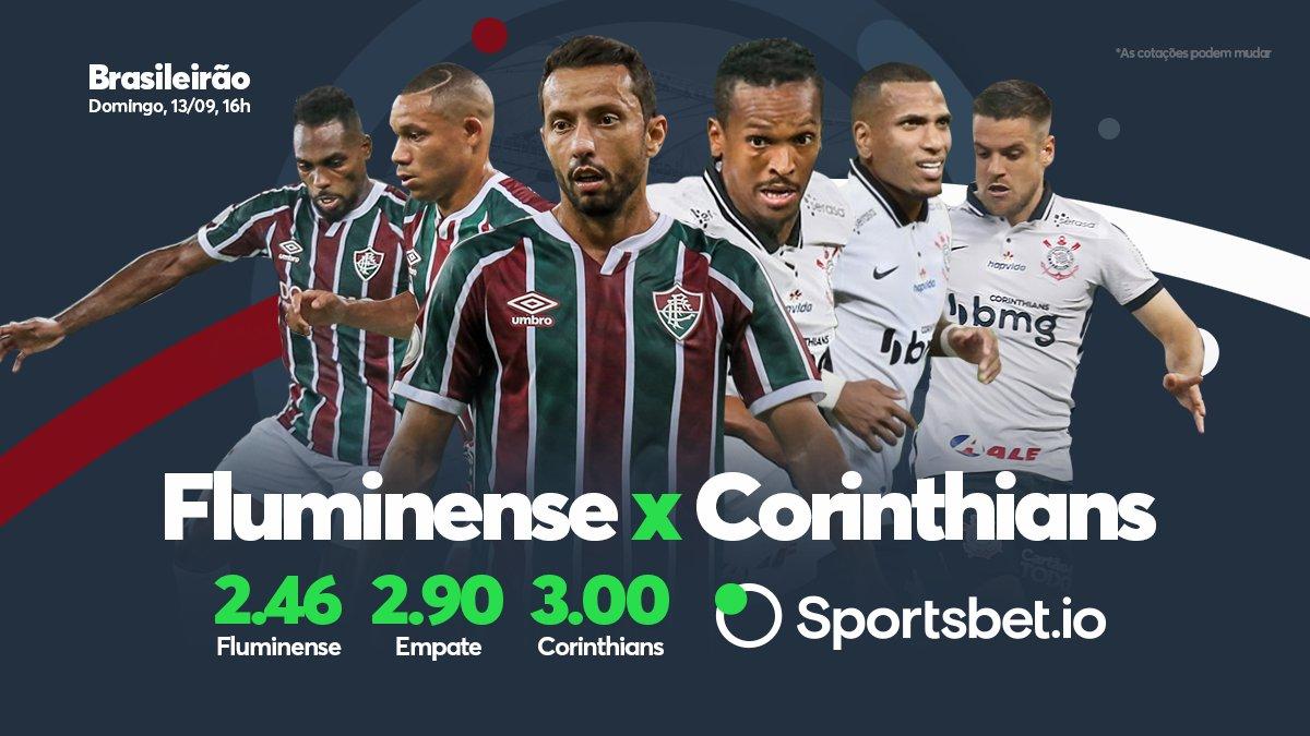 Hoje tem mais Brasileirão! #Fluminense e #Corinthians se enfrentam em busca da reabilitação na competição! E aí, quem vai vencer esse duelo? Vai lá no site e faça sua aposta: sportsbet.io/pt/sports/even…