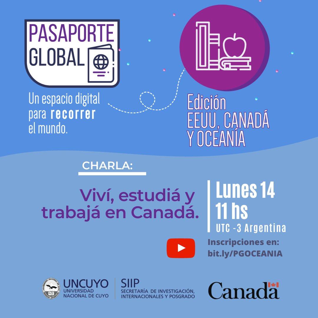 """Vous envisagez d'étudier et de travailler au Canada? Ne manquez pas la conférence virtuelle """"Vivre, étudier et travailler au Canada"""" le 14 septembre à 11 h organisé par l'Université de Cuyo. L'activité est gratuite (en espagnol) avec inscription ici: 👉 https://t.co/1sf6sg1U3H https://t.co/umgB00fmUn"""