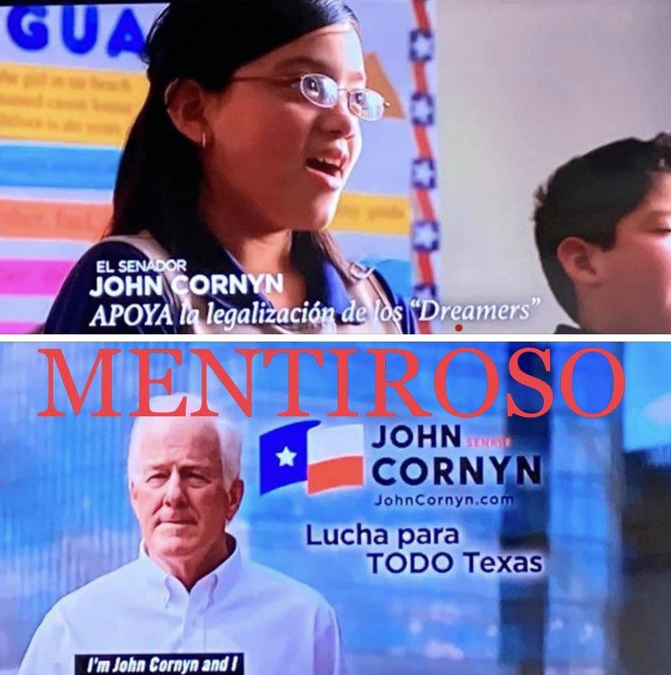 Editado!!! #NoSeasMENTIROSO @JohnCornyn, tu nunca haz apoyado a los immigrates, ni Dreamers, ni #DACA #fueraCornyn https://t.co/a0CCvr6x4Z