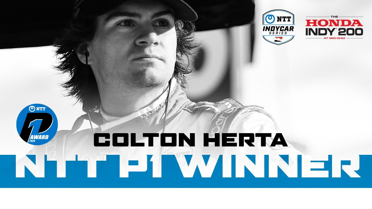 .@ColtonHerta wins the NTT P1 award for Race 2 qualifying and will start on the pole in today's race.   #INDYCAR // #Honda200 https://t.co/ijl3vPAIk9