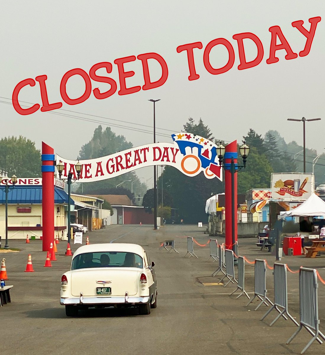 Due to ongoing poor air quality, and the safety of our staff, vendors and guests, the Washington State Fair Food-To-Go Drive-Thru will be closed again today. Check here & our website for updates. Stay safe. https://t.co/dWYfyYCrYz