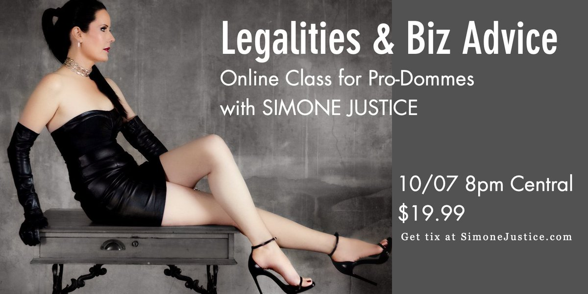 Pro-Domme Online Class on Legality Issues & Business Set Up Advice 10/7 8pm Central $19.99 tix at https://t.co/fm3BtzPVpQ  Tips on laws, city codes, banking, taxes & more.  This topic won't repeat. No recording. I'm only doing 3 more online classes. https://t.co/0ArNwI9mqV