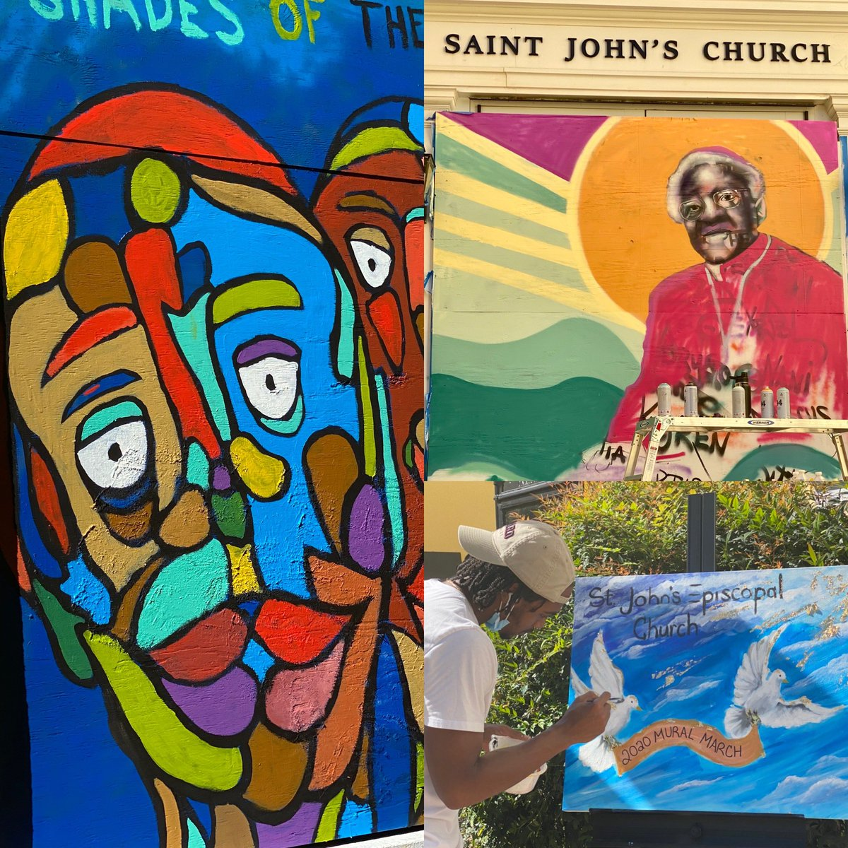Just a sampling of some of the vibrant images on the plywood boards covering the stained glass windows of @StJohnLafayette, thanks to the @PAINTSInstitute + @DowntownDCBID. #muralmarch #BLMPlaza #StJohnsChurch https://t.co/0ZHH3zOjKn