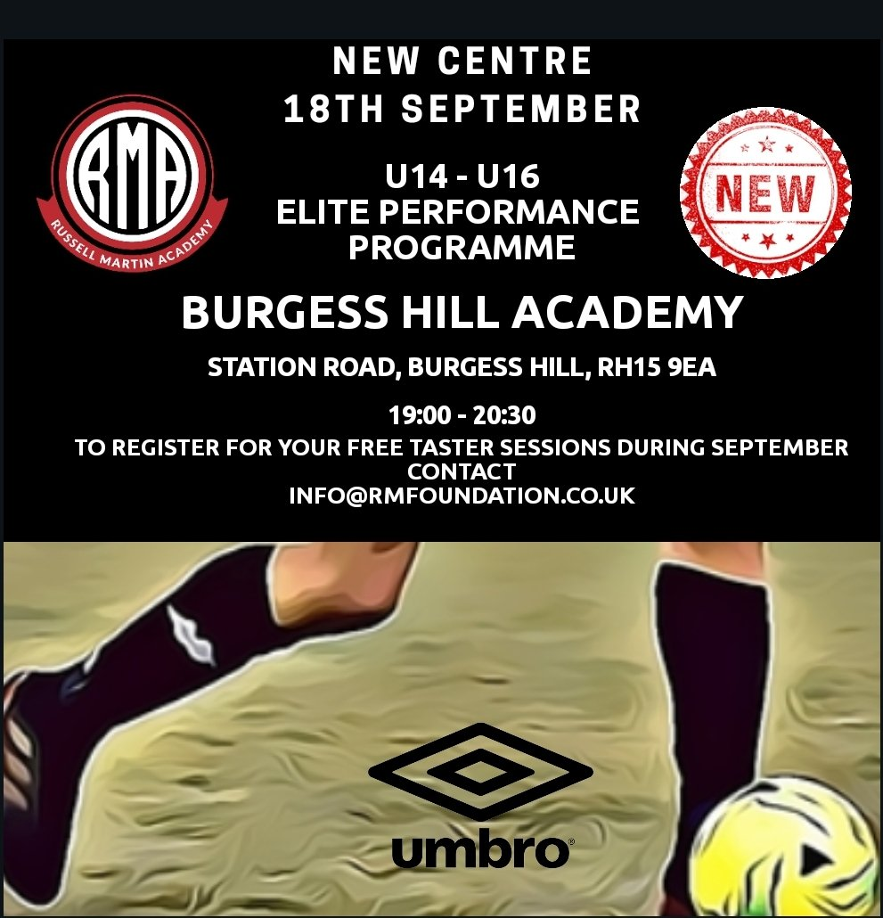 RMA are pleased to announce the launch of our new U14 - U16 Elite Performance Centre on Friday 18th September at Burgess Hill Academy  To celebrate the launch we are offering new players two FREE taster sessions   To find out more or to register contact on info@rmfoundation.co.uk https://t.co/If8syETL6f