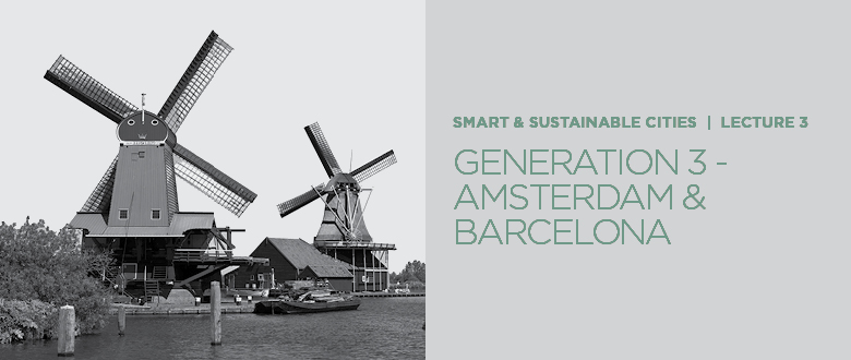 """Smart and sustainable cities: lecture 3  For the final series Prof. Pomeroy investigates Barcelona and Amsterdam to understand """"What makes the third generation Smart City?""""  To watch the video, visit https://t.co/mEu5je2uM6  #smartcity #views #sustainability #Amsterdam #Barcelona https://t.co/R6OBhzuc73"""