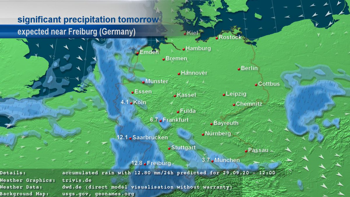 This #weather map shows the precipitation accumulated over 24 hours for #Germany for tomorrow. For #Freiburg 12.8 mm/24h are expected for 29.09.20. https://t.co/sGqDplvrF8