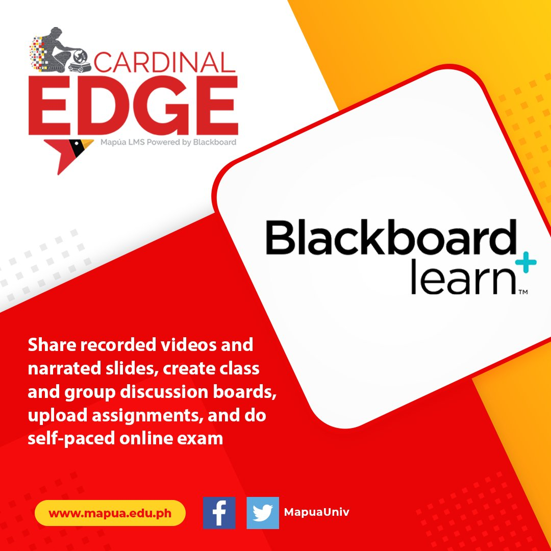 Mapúa University provides its students with access to online learning materials in Cardinal EDGE using their Blackboard accounts. https://t.co/5KRCPJRRop