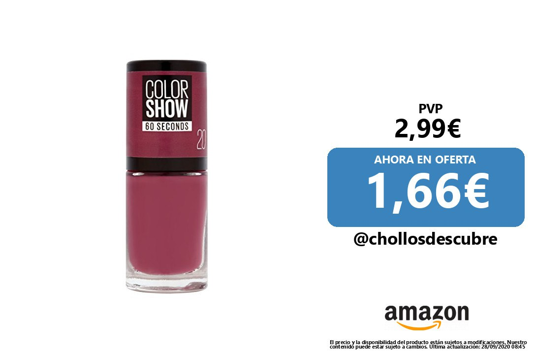 ‍SUPER PRECIO ❗️🔸 #Amazon | #Belleza 📣Maybelline New York Color Show, Esmalte de Uñas Secado Rápido, Tono: 020 Blush Berry  ⛔️ PVP: 2,99€   ✅PRECIO OFERTA: 1,66€      ⤵️ Link de compra    🌐 https://t.co/XjY4ORBUHK  Visto en https://t.co/JpQzg3pNYP https://t.co/iKAtSZDRGF
