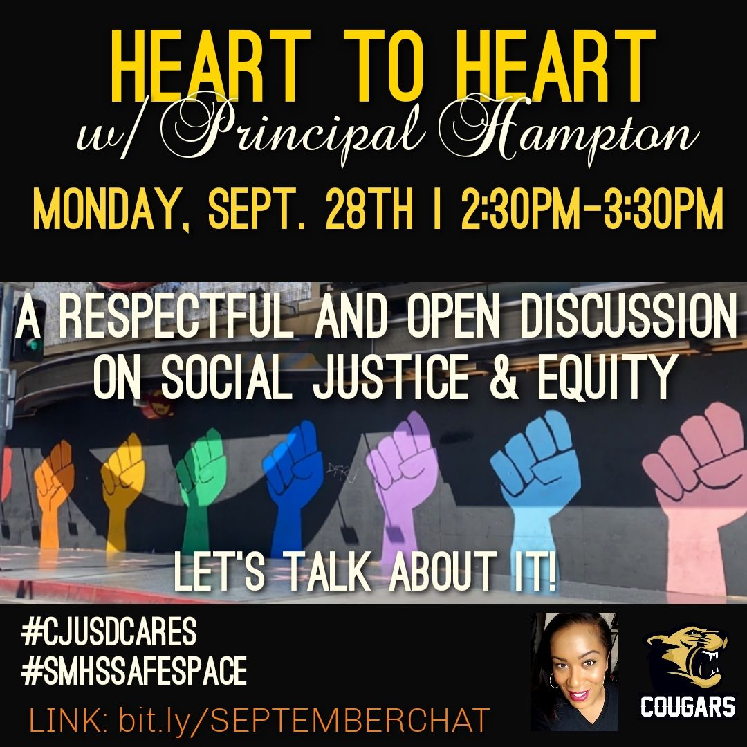 "Join in on my ""Heart to Heart"" tomorrow afternoon where we tackle what you're thinking and feeling about current social justice issues and how we can create equity for all. Share your thoughts in a safe and respectful environment.  See you tomorrow! @edrinafraijo https://t.co/aQf3kqlk4b"