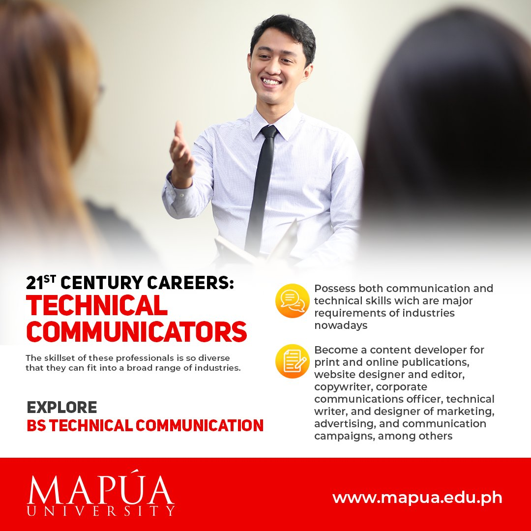 A uniquely Mapúan degree, our Bachelor of Science in Technical Communication program is founded on a strong liberal education component that integrates communication principles and practices with concepts in the sciences, business, and information and engineering technologies. https://t.co/FKhSRmpQfU