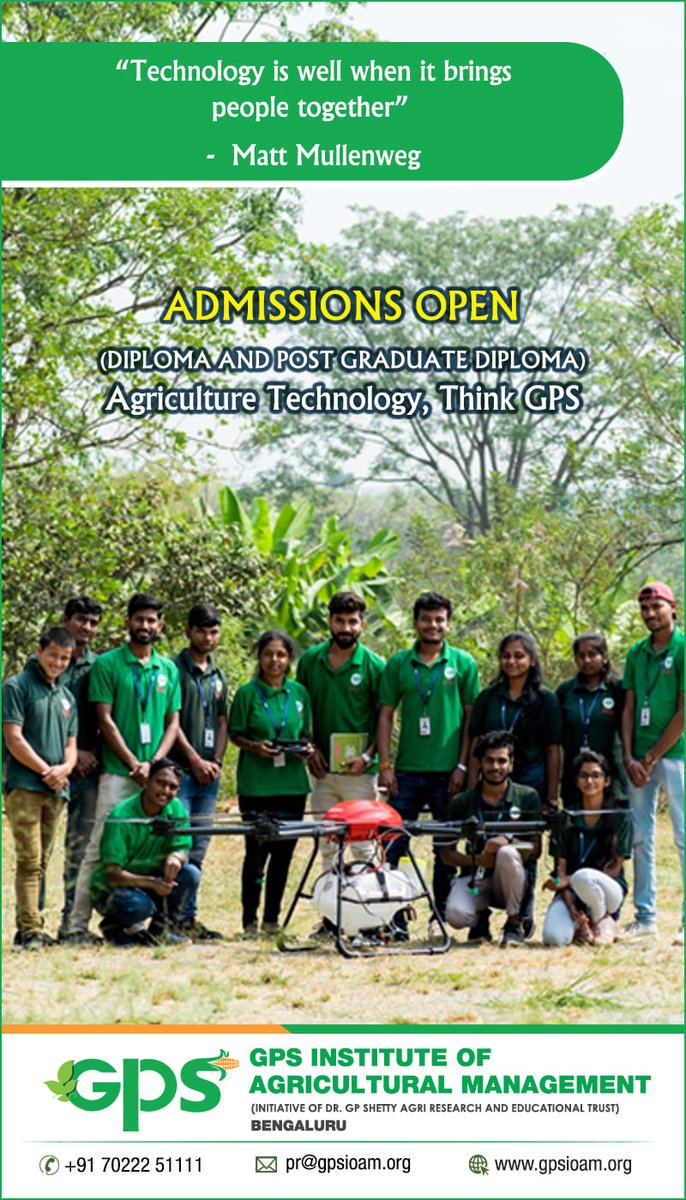 #GPS #Institute #of #Agricultural #Management #Admissions #Open - #2020- #21 #GPSIOAM #Agriculture #Skill #Youth #Agri- #Business #Assured #Job #Placement #Diploma #Post #Graduate #University #Education #NSDC #ASCI #Bangalore #University #Agro #Industries #Entrepreneurship https://t.co/0H8p9mdJsD